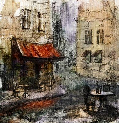 Poster Francês outdoor europeu café pintura, desenho gráfico em cores