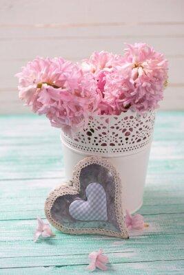 Poster Fresco, cor-de-rosa, jacintos, flores, balde, decorativo, Coração