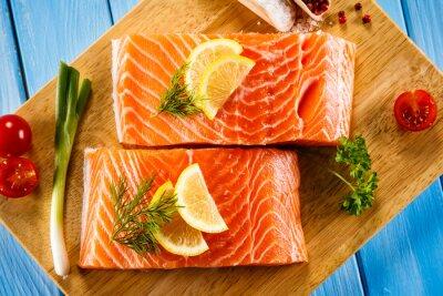 Poster Fresco, cru, salmão, filetes, corte, tábua
