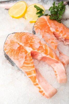 Poster Fresco, salmão, peixe, limão, mercado