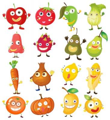 Poster Frutas e legumes com rosto