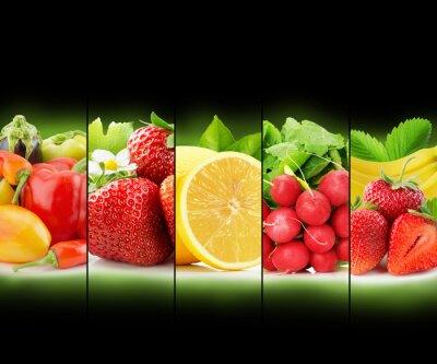 Poster Frutas e vegetais stripe coleção sobre fundo preto