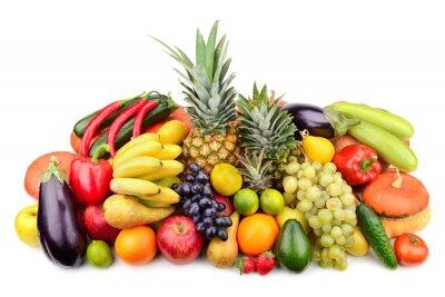 Poster frutas frescas e vegetais isolados no branco