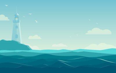 Poster Fundo azul do mar com ondas e farol. Ilustração vetorial