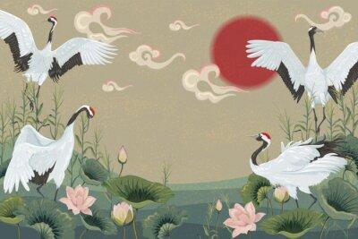 Poster fundo com guindastes japoneses ao pôr do sol