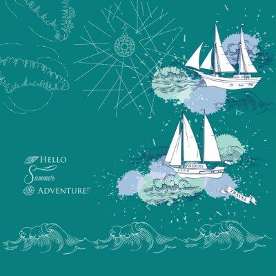 Poster Fundo com navios e waves.Hand desenhado mar, ondas e iates. Ilustração vetorial