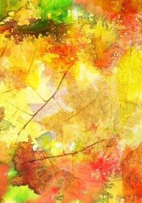 Poster Fundo da aguarela com folhas de outono