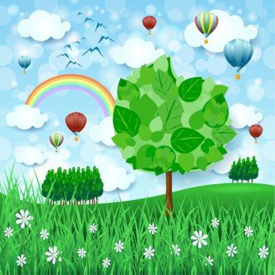 Poster Fundo da mola com grandes árvores e balões de ar quente