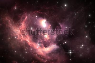 Poster Fundo de espaço do céu à noite com nebulosa e estrelas, ilustração
