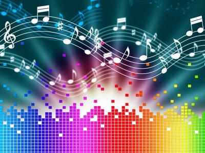 Poster Fundo do arco-íris A música significa Melody cantando e Soundwaves.