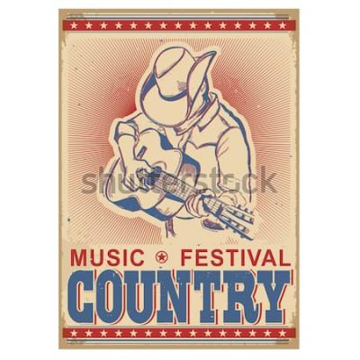 Poster Fundo do festival de música americana com músico tocando guitarra. Poster retro de vetor com texto em papel velho