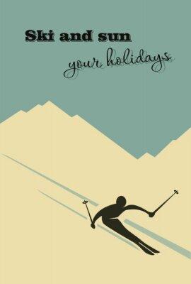 Poster Fundo do inverno. Esquiador escorrega da montanha.