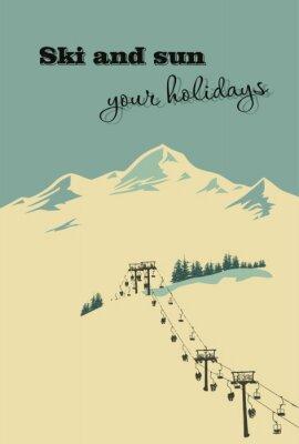 Poster Fundo do inverno. Montanha paisagem com teleférico