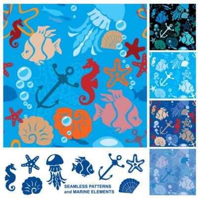 Poster Fundo sem emenda com vida marinha