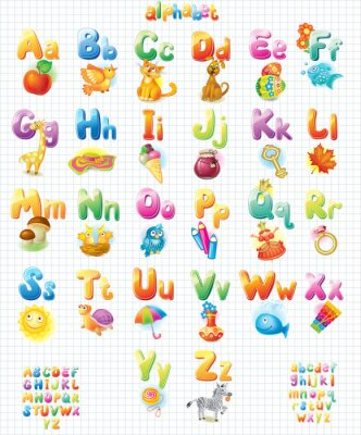 Poster Funny Alphabet with pictures for children