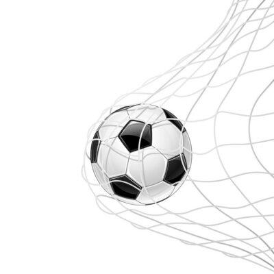 Poster Futebol bola na rede isolada. Vetor