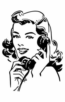 Poster Gal bonito no telefone