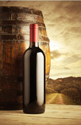 Poster garrafa de vinho tinto