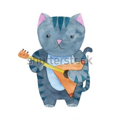 Poster Gato bonito de aquarela tocando a balalaica ou guitarra