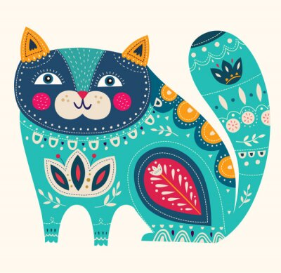 Poster Gato decorativo bonito do vetor na cor azul