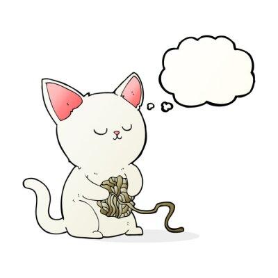 Poster Gato dos desenhos animados que joga com esfera do fio com bolha do pensamento