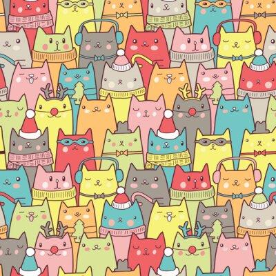 Poster Gatos do Natal teste padrão sem emenda