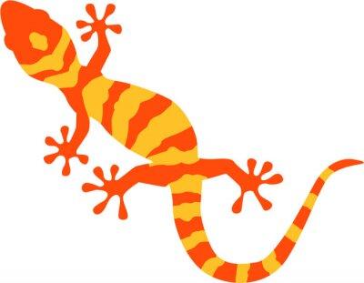 Poster Gecko com padrão de laranja e amarelo