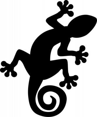 Poster Gecko lizard silhueta