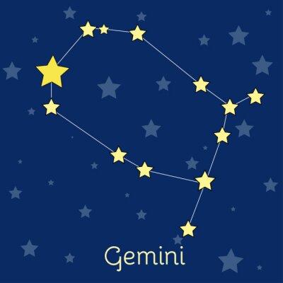 Poster Gemini Air Zodiac constelação com estrelas no cosmos. Imagem vetorial