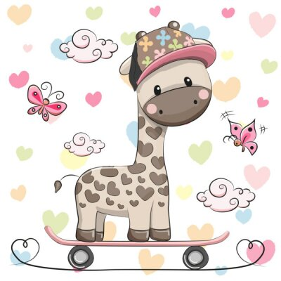 Poster Girafa bonito com skate
