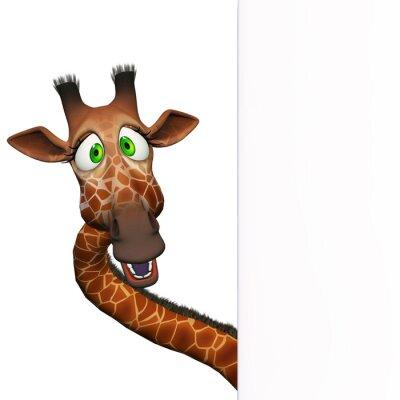 Poster Girafa com uma placa em branco