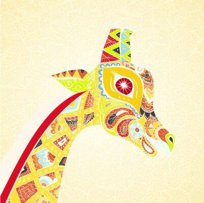 Poster Giraffe adulto bonito. Entregue a ilustração tirada do girafa ornamental. Giraffe colorido no fundo decorativo.