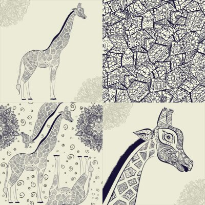 Poster Giraffe adulto bonito. Entregue a ilustração tirada do girafa ornamental. Isolado no fundo branco. Seamless, padrão, ornamental, girafa
