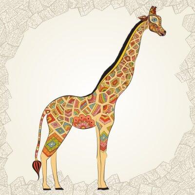 Poster Giraffe adulto bonito no boho. Entregue a ilustração tirada do girafa ornamental. Girafa colorido no fundo decorativo.