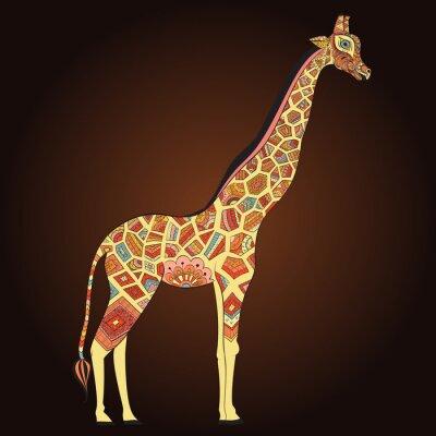 Poster Giraffe adulto bonito no boho. Entregue a ilustração tirada do girafa ornamental. Giraffe colorido no fundo decorativo.