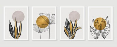 Poster Gold Botanical wall art vector set. Earth tone boho foliage line art drawing with  abstract shape.  Abstract Plant Art design for print, cover, wallpaper, Minimal and  natural wall art.