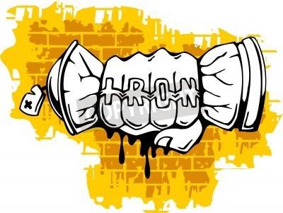 Poster Graffiti - final do punho Spray de ballon.Vector Ilustração. Vinil-Pronta.