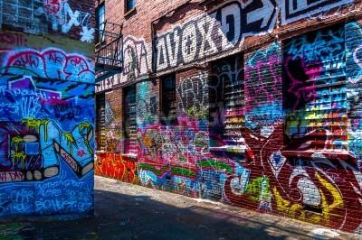 Poster Graffiti nas paredes em grafitos Alley, Baltimore, Maryland.