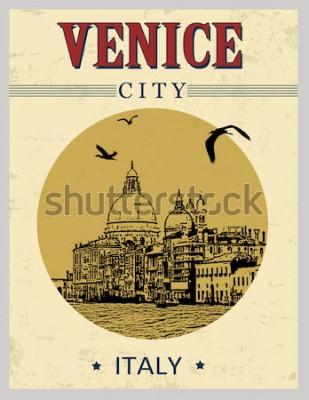 Poster Grande Canal e Basílica de Santa Maria della Salute, Veneza, Itália, em cartaz de estilo vintage, ilustração vetorial