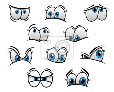 Grandes Olhos Azuis Em Desenho Animado Ou Estilo Comic Cartazes
