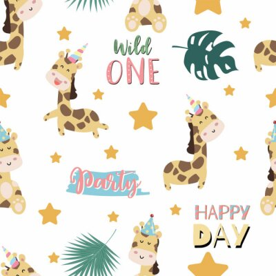 Poster Green pastel seamless pattern with  giraffe smiling,horn,star. Wording are wild one,party and happy day