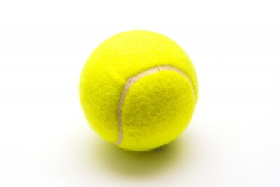 Poster green tennis ball on white background