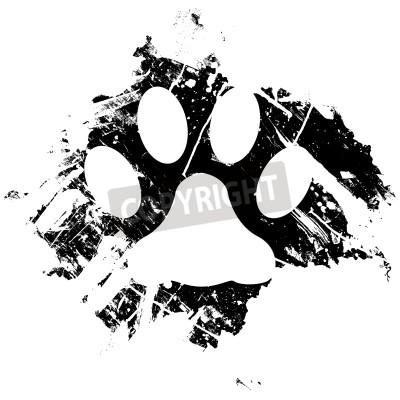 Poster Grunge animal de estimação ou pata do gato. Pode ser usado como um fundo ou como um elemento de estrutura secundária.
