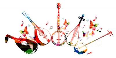 Poster Grupo de instrumentos de música com borboletas