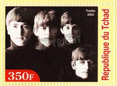 Poster GUINÉ - CERCA DE 2003: The Beatles - 1980 famoso grupo pop musical.