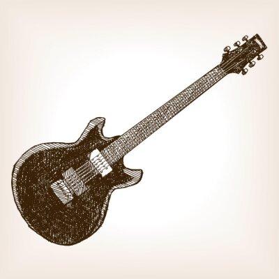 Poster Guitarra elétrica mão desenhada vector estilo esboço