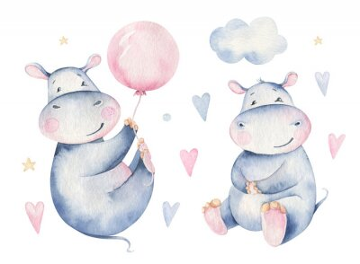 Poster Hand drawn cute isolated tropical summer watercolor hippo animals. hippopotamus baby and mother cartoon animal illustrations, jungle tree, brazil trendy design. Aloha collection.