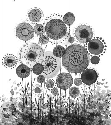 Poster Hand made ink drawings with floral motifs resembling dandelions, black and white