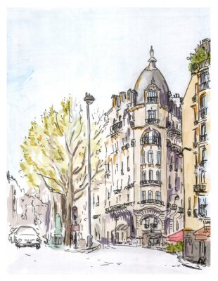 Poster Hand painted color sketch of Paris street