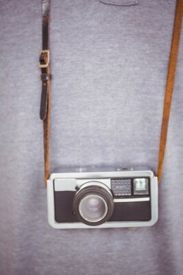 Poster Hipster, segurando, retro, câmera